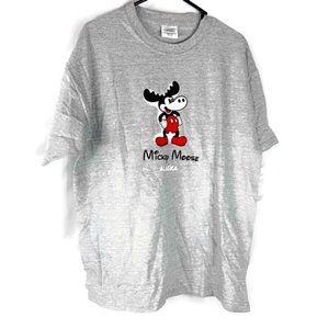 Port & Company Mickey Mouse Moose Gray Tee Shirt